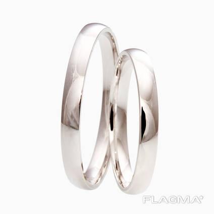 Классические обручальные кольца из белого золота