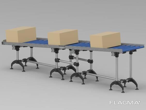 Roller transporter gravity conveyor 4 meters Rullikute pakkide pullkonveierid